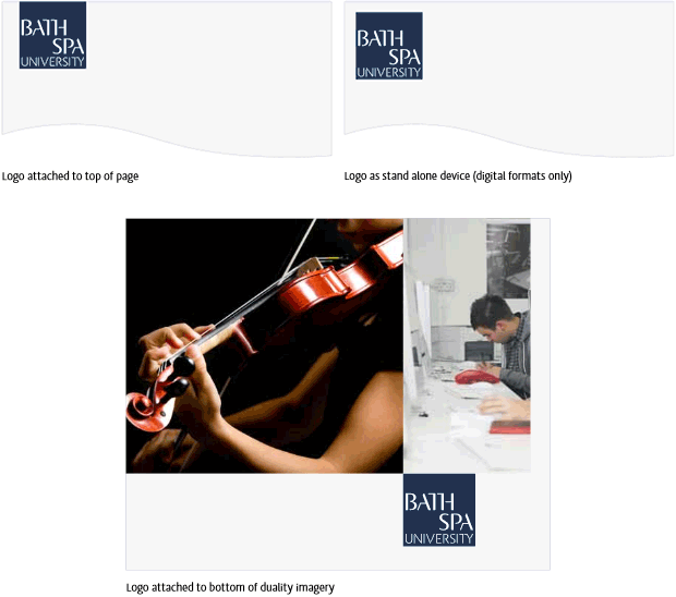 Bath Spa University logo placement examples