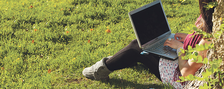Student using a laptop computer outside on the grass